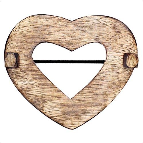 Raffhalter Herz-Form aus Holz/Dekospange für Stoffe Gardinenschals Aller Art Durchmesser ca.12 cm