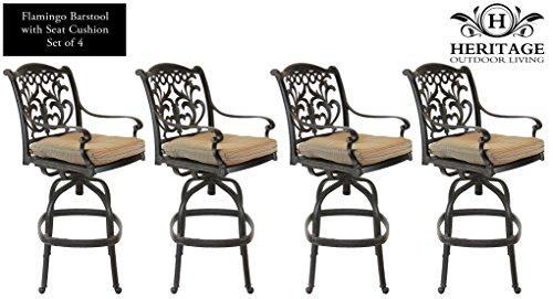 Hot Sale Heritage Outdoor Living Flamingo Cast Aluminum Barstool - Set of 4 - Antique Bronze