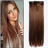 Vtrem 5 Bandes 16 Clips Extensions A Clips Cheveux Naturels Résistant À La Chaleur Hair Extension Volume Longue Cheveux Raides -60cm -126g [Brun]