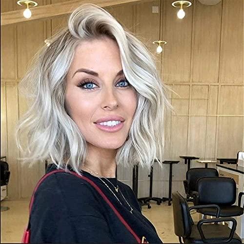 HTDYLHH Belles perruques, Pelucas compatibles con las mujeres de pelucas europeas y americanas compatibles con las mujeres con el pelo corto y rizado, la elección sintética de la malla rosa pour une u