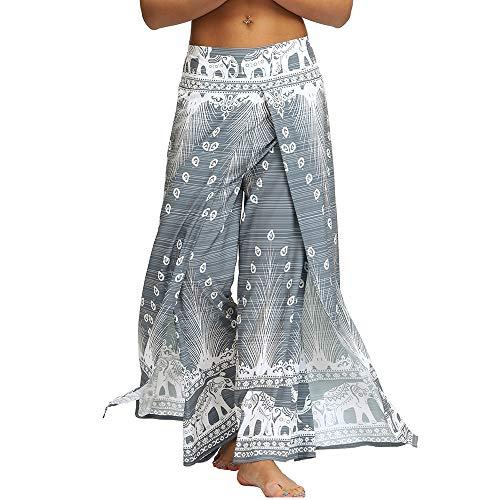 Nuofengkudu Mujer Hippie Largo Pantalones Dividir Pata Ancha Flores Estampados Sueltos Elegantes Comodos Thai Yoga Pants Verano Playa Vacaciones(Gris Pavo,S/M)