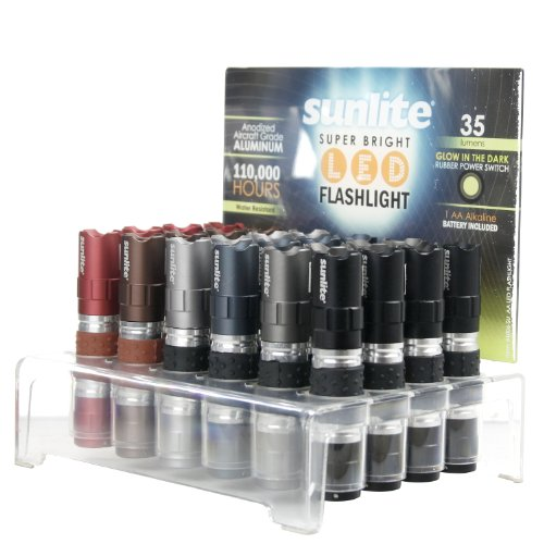 Sunlite 51006-SU AA LED Flashlight - Super Bright - 24PK with Display, 24 Pack