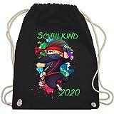 Shirtracer Einschulung und Schulanfang - Cooler Ninja Junge 2020 - Unisize - Schwarz - WM110 - Turnbeutel und Stoffbeutel aus Bio-Baumwolle