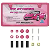 DFDM National License Plate Frame Kit Pink Powder Coating, Includes Stainless Steel Screws, Fasteners and Caps, 2 Hole Bracket Standard Non-Anti-Theft Model