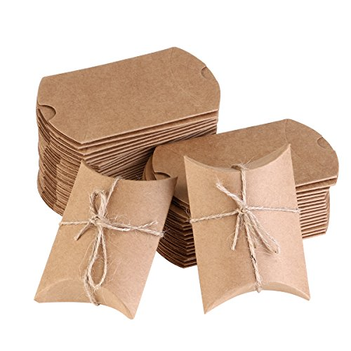 NUOLUX Kraft Vintage Boxes Brown Shabby Rústico Wrapping Gift Candy Boxes con la boda de la cuerda Favor Pack de 50