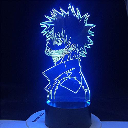 Lámpara de ilusión 3D Academia DABI My Hero Night Light al lado de la lámpara de mesa para la habitación de los niños, decoración del hogar, regalos de cumpleaños con 16 colores cambiantes