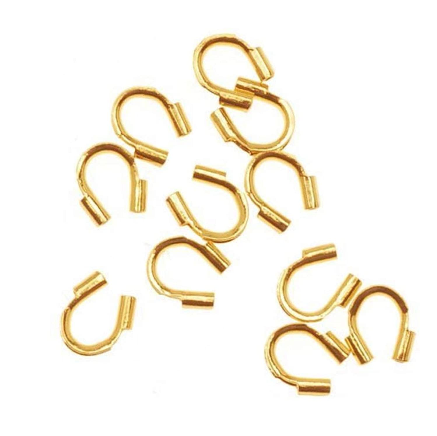 200pcs Top Quality Wire Guard Thread Protector Loop Guardian Gold Plated Brass Metal (Hole ~ 0.02
