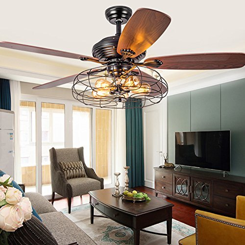 Industrial 48' Fan Semi Flush Ceiling Light - MAYERHK Antique Vintage Retro Ceiling Fan Chandelier Cage Pendant Light in in Rustic Style Through Remote Control