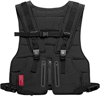 New Streetwear Tactical Vest for Men Hip Hop Street Style Chest Rig Phone Bag Fashion Reflective Strip Cargo Waistcoat with Pockets (Color : Black)