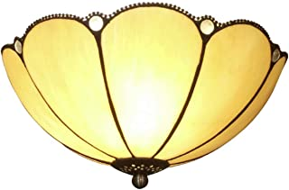 GDLight Tiffany Style LED Ceiling Light Minimalism Pumpkin Stained Glass Flush Mount Ceiling Lamps for Bedroom Living Room Island Dining Room,30cm