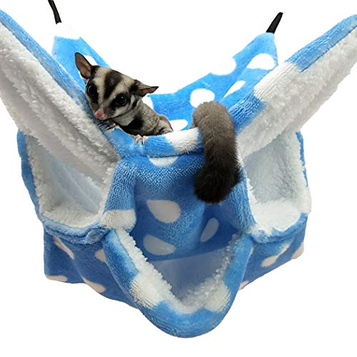 WOWOWMEOW Small Animal Cage Hanging Bunkbed Hammock Warm Fleece Bed for Sugar Glider Ferret Squirrel (Blue-Dots)