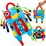 teytoy Sensory Buckle Pillow Toys for Children, Busy Bag Learning Fine Motor Skill Problem Solving, Educational Montessori Fidgets Travel Toy for Kids Plush Threading Counting Zipper -Unique Design