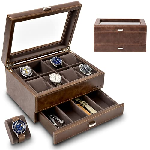 TAWBURY 8 Watch Box with Drawer - Collection Watch Box for Large Watches   Wrist Watch Display Case   Brown PU Leather Watch Organizer   Men Watch Box Organizer   Watch Storage Box   Men Watch Boxes