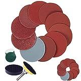 Papel de lija con velcro de 2 pulgadas y 50 mm,almohadilla de esponja de 1/4'para herramienta amoladora de taladro giratorio, papel de lija grueso 80-1000,1200,1500,2000,3000 (260 piezas)