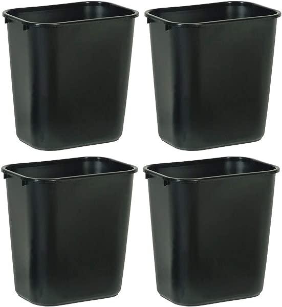 Rubbermaid Commercial Products NCVBHDGH FG295600BLA Plastic Deskside Wastebasket 28 1 8 Quart Black 4 Pack