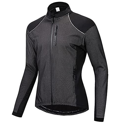 TDHLW Chaqueta de Lana Térmica de Invierno para Ciclismo de Hombres, Impermeable a Prueba de Viento Abrigo de Bicicleta Cortavientos para Correr,Negro,XL