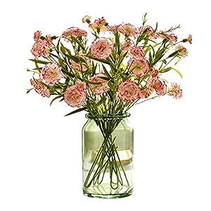Artificial Flowers Carnation Flower Bunch, 1PC Fake Silk Hydrangea Bouquet Decor, Bouquet Plant Home Decoration, Wedding Table Centerpieces,for Home Office Party Ornament (Without vase,C)