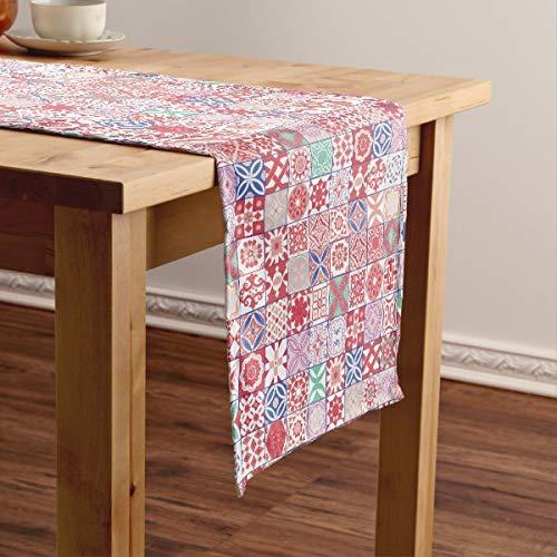 CICIDI Camino de mesa corto con azulejos marroquíes, color rojo, mantel para fiestas, cenas, vacaciones, cocina, 33 x 70 pulgadas