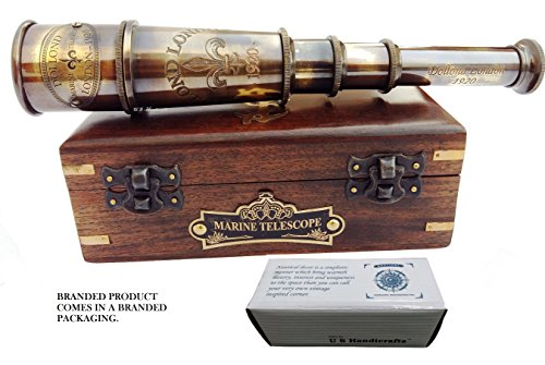DOLLOND London 1920 Marine Collectible Décor Nautical Spyglass Antique Mounted Solid Brass 15 Inch Pirate Telescope with Wooden corrugate Box.