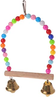 KAN DU Natural Wooden Birds Perch Parrots Hanging Swing Cage with Colorful Beads Bells, Wooden Hanging Parrot - Bird Perches in Pet Supplies, Birds Swings, Wooden Parrot Bird Cages