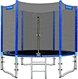 femor 8FT/10FT Outdoor Garden Jumper, Ø 244/305 cm Trampoline Complete Set with Padded Poles, Safety Net for Garden Trampolines Ø244/305/366 cm, Ladder, Edge Cove, Safe for Family Outdoor Fun