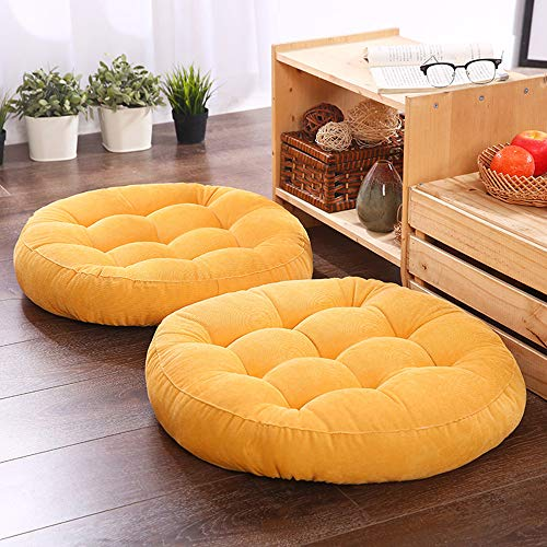 Chair Cushion/Round Cushion/seat Cushion/Floor Pillow Chair Cushion 16.5x16.5 inch Cushion Yoga mat Living Room Sofa Indoor Window sill Cushion Garden Chair Cushion (16.5' X16.5', Yellow)