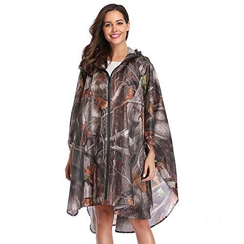 Summer Mae Regen Poncho Jacke Mantel für Erwachsene mit Kapuze wasserdicht mit Reißverschluss im Freien,Einheitsgröße,Natur
