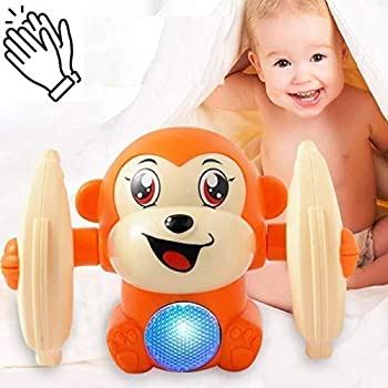 Supreme Deals® 360 Degree Rotating Spot Stunt Dancing and Spinning Rolling Doll Tumble Monkey, Bump & Go Toy with Flashing Light & Sound (Sensor Operated System)
