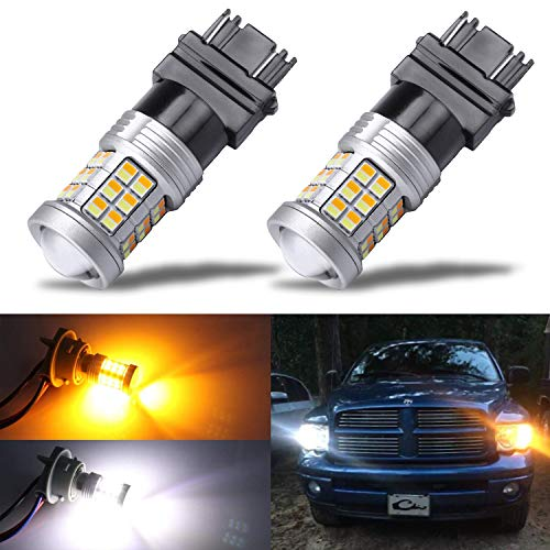 KISLED Extremely Bright 3528 Chipsets 3157 4157 3155 3457 Switchback LED Bulbs with Projector Replacement for Daytime Running Lights/DRL and Turn Signal Lights,White/Amber