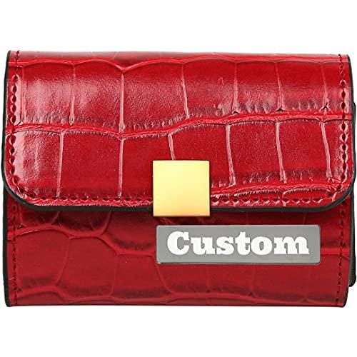 Tarjeta de identificación Personalizada de la Tarjeta Personalizada Trifold Women Wallet Cuero para Las Mujeres Pequeño Embrague Monedero (Color : Red, Size : One Size)