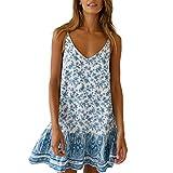 VEMOW Vestido de Mujer con Cuello en O y Volante Liso con Volantes Vestido de Correa Falda(X Cielo Azul,L)