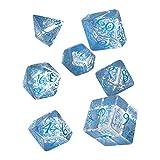 Q WORKSHOP Elvish Translucent & Blue RPG Ornamented Dice Set 7 Polyhedral Pieces -