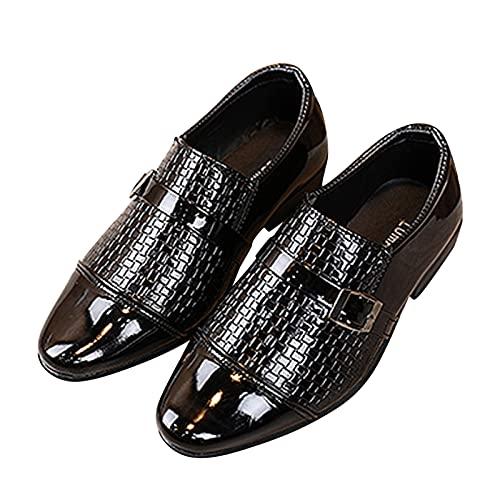 Dinnesis Zapatos de bebé para niños pequeños, estilo británico, informales, de piel, para bodas, con traje negro, Negro , 35