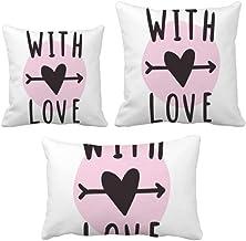 DIYthinker with You Love Conjunto de almofadas estilo citação rosa para sofá de casa