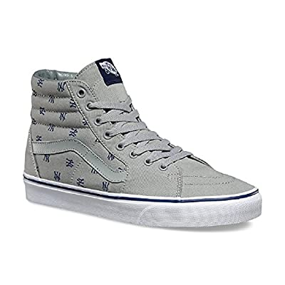 "Vans Men's ""Vans x MLB Yankees Sk8-Hi"" Heather Grey/Yankees Print Skateboard shoe (US 7.5)"