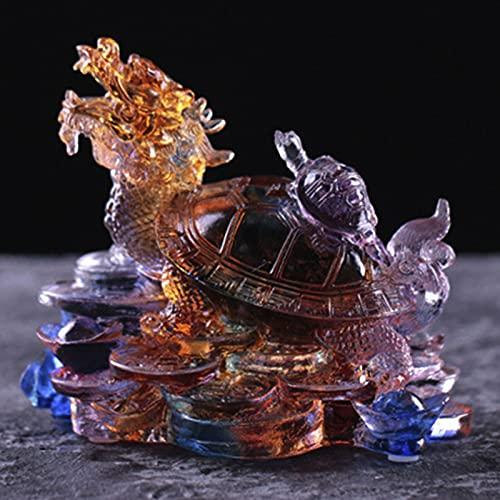 XDYFF Estatuas Decorativas Feng Shui Tortuga Dragón Figuras, Escultura Animal Vidrio/Liuli/Esmalte De Color Hogar Prosperidad Decoración, Regalo De Empresa,A