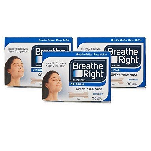 Breathe Right - Tiras Nasales, grandes, color carne, juego de 3