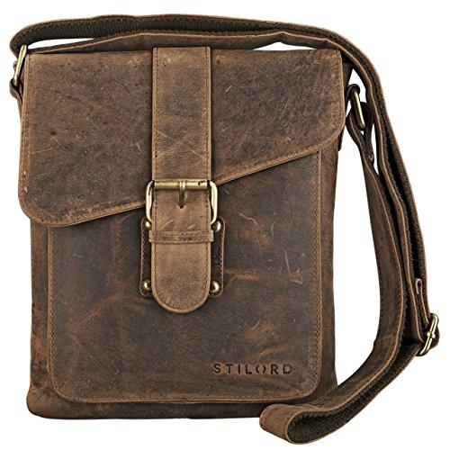 STILORD 'Mattia' kleine Umhängetasche Herren Leder Vintage iPad Hülle 10,1 Zoll Tablettasche Schultertasche Messenger Bag Rindsleder Antik, Farbe:mittel - braun