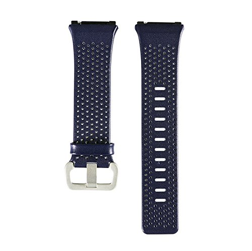 AWINNER Leather Bands for Fitbit Ionic,Genuine Leather Replacement Band Accessories Straps for Fitbit Ionic Smart Fitness Watch Women Men (Blue, Small(5.5''-6.7''))