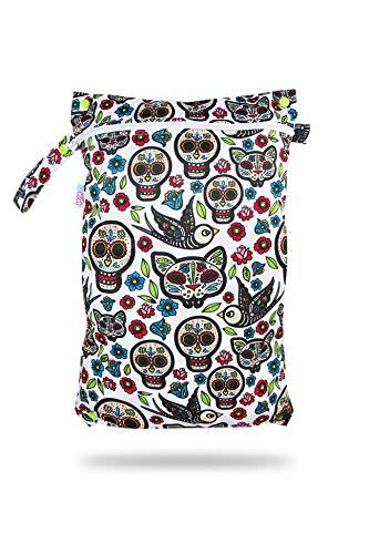 Petit Lulu - Bolsa de pañales reutilizable y lavable | Impermeable | Tamaño doble | Cierre de cremallera y mango a presión | Fabricado en Europa Mexican Skulls (on white)