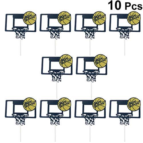 UPKOCH Kuchen Topper Basketball Zielbrett Form Kuchendeckel Kuchendekoration Basketball Thema Geburtstag Party Zubehör 10 Stück