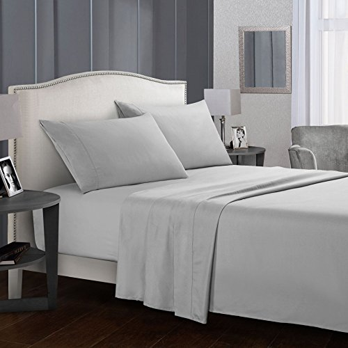Paekabao Home and Hotel Bed Sheet Set-4 PC-Super Soft Microfiber 1800 Thread Count - Easy Fit - Breathable -16-Inch Deep Pocket-Machine Washable (California King, Light Grey)