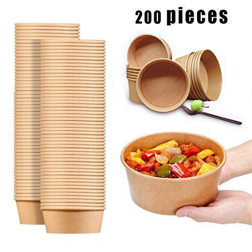 zhangfengjiao 200 440ml Milieuvriendelijke Magnetron Kraft Papier Soepkommen, Wegwerpbare voedsel Carry-on Containers, Soepcontainers met luchtdichte deksels, Ideaal voor restaurants