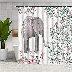 DMTTY Elephant Shower Curtain Spring Decor Pink Flower Green Leaf Bathroom Curtain 72x72 Inches Fabric Bathroom Accessories Polyester with Hooks