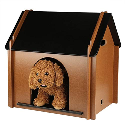 AYNEFY Caseta de Gatos de Madera, Casa para Mascotas Plegable Suave y Cálido de Desmontable Decorativo Caseta de Perro Resistente al Invierno para Jardín y Interior