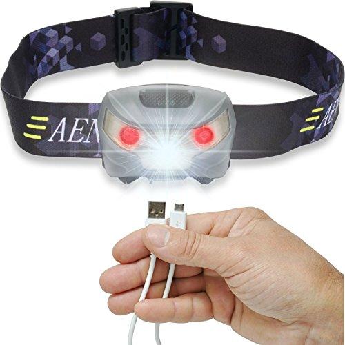 ZMIN LED Lampe Frontale, USB Rechargeable Phare Glare pêche étanche équitation d'extérieur Mise au Point LED Phare Lampe de Poche