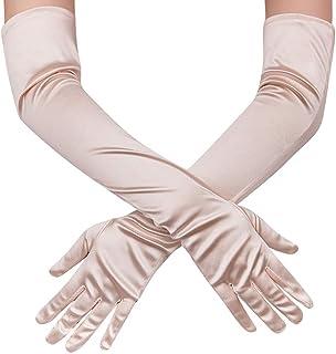 Ksnrang bianchi Damen Lange Raso Handschuhe Satin Classic Opera Fest Party Hochzeit Braut Handschuhe 1920er Stil Handschuhe Elastisch Erwachsene Größe bis Handgelenk Länge
