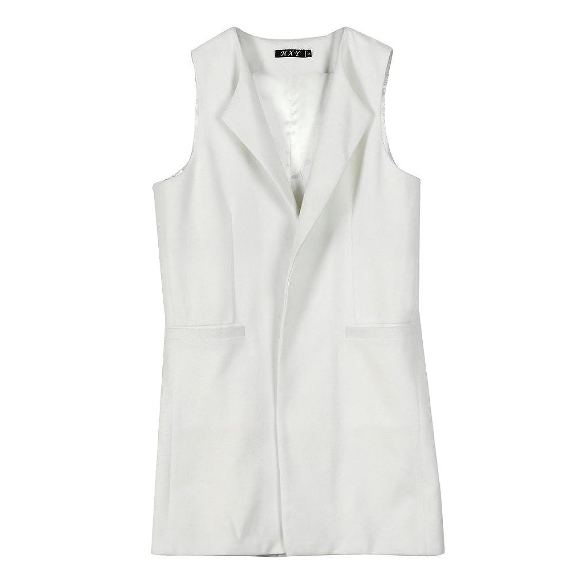 Toimoth Womens Solid Sleeveless Long Waistcoat Vest Gilet Jacket Coat Parka Outwear Cardigan with Pocket