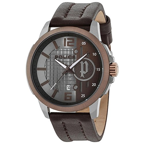 Police Herren Datum klassisch Quarz Uhr mit Leder Armband 15238JSUBN/13