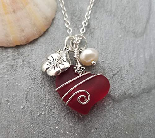 Hawaii Jewelry, Red Heart Sea Glass with designer wire wrap, HIbiscus and Freshwater pearl charms,'January Birthstone', (Hawaii Gift Wrapped, Customizable Gift Message)